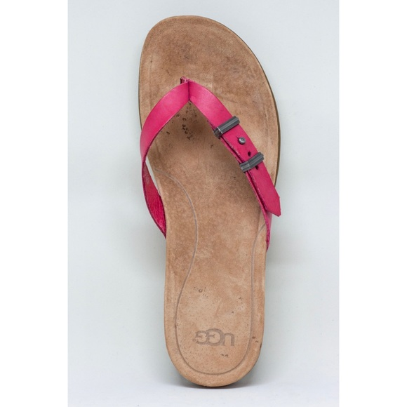 be521e2c7ca UGG Sela Casual Leather Buckle Flip Flops